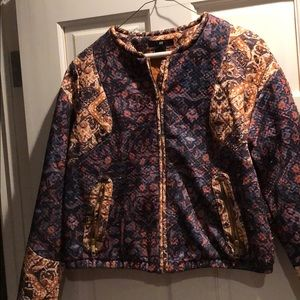 H&M cropped quilted patterned bomber jacket